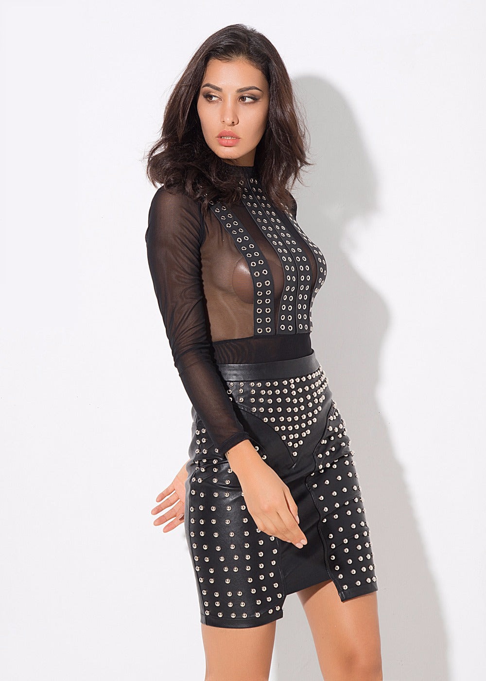 Black Stud Leather Skirt