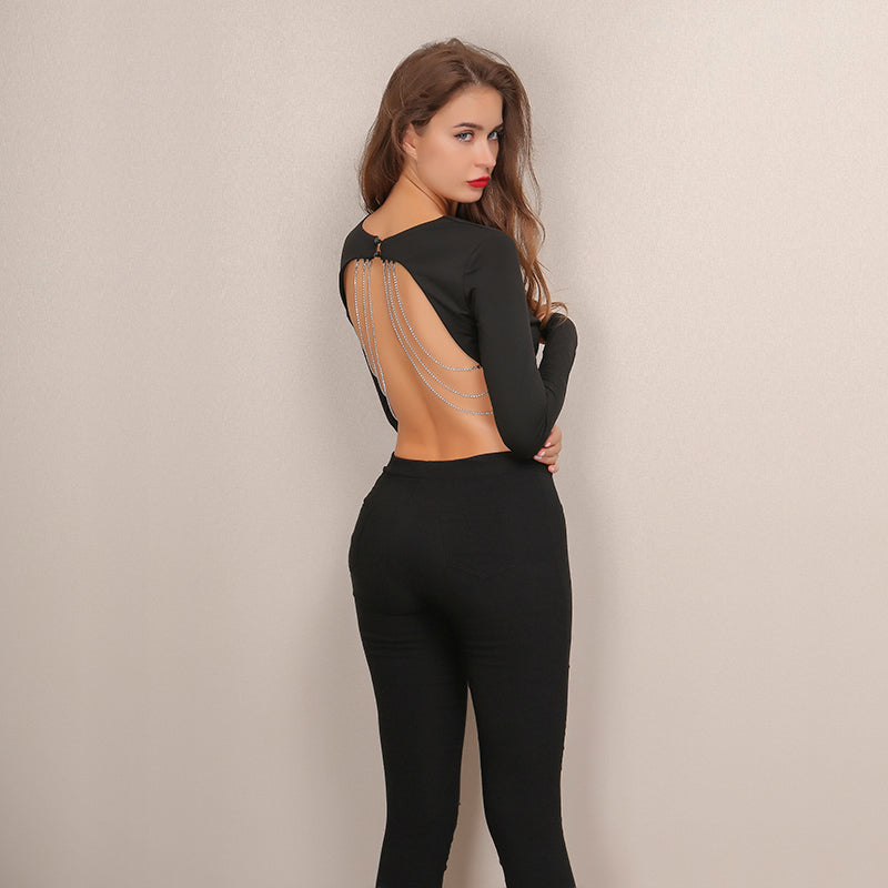 Black Backless Crop Top