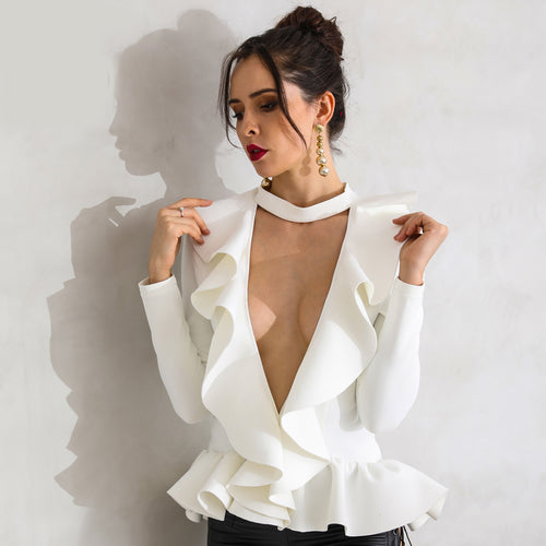 White Ruffle V Neckline Top