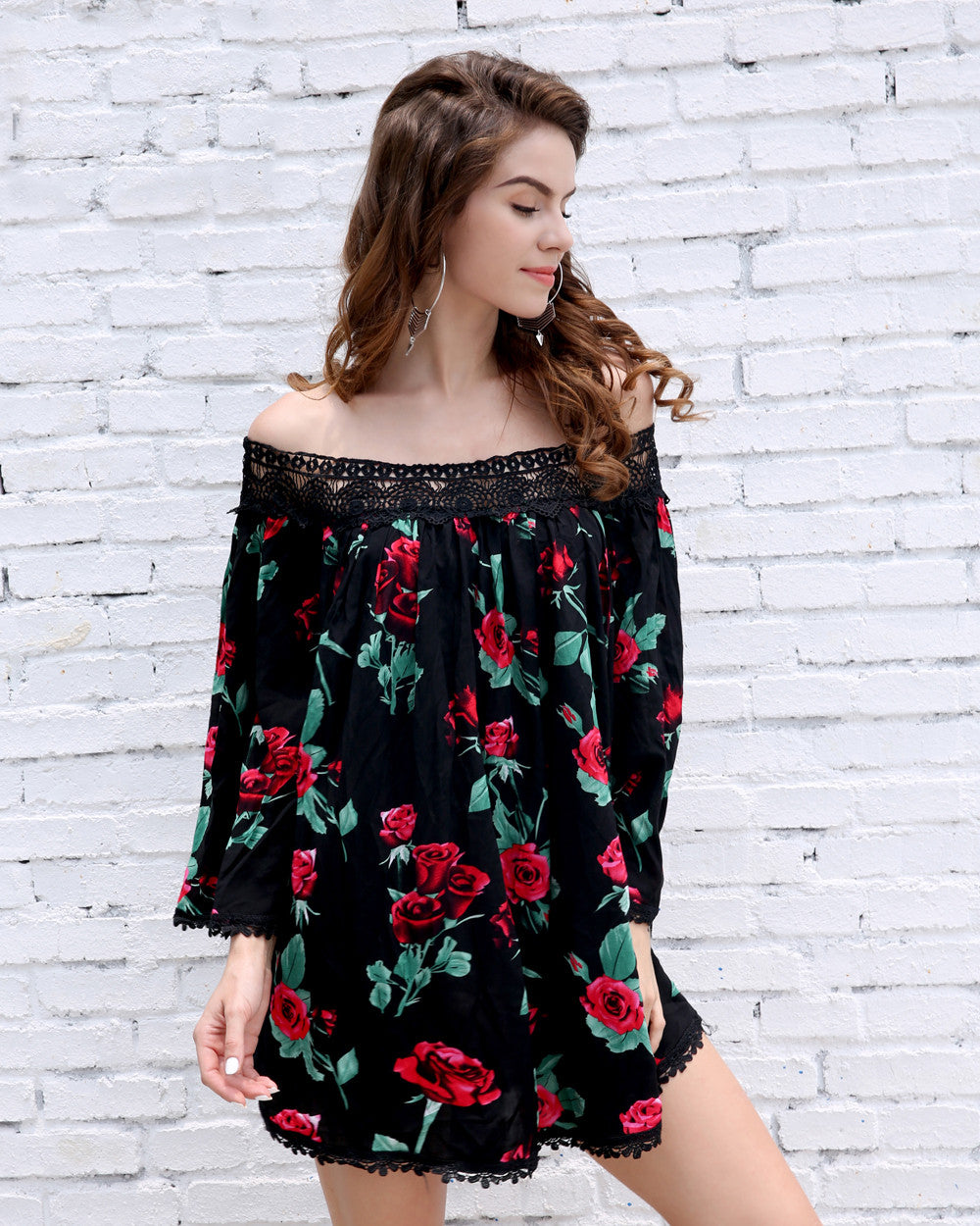 Black Floral Off the Shoulder Dress