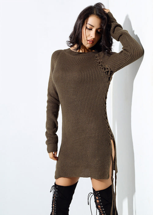 Brown Lace Up Sweater