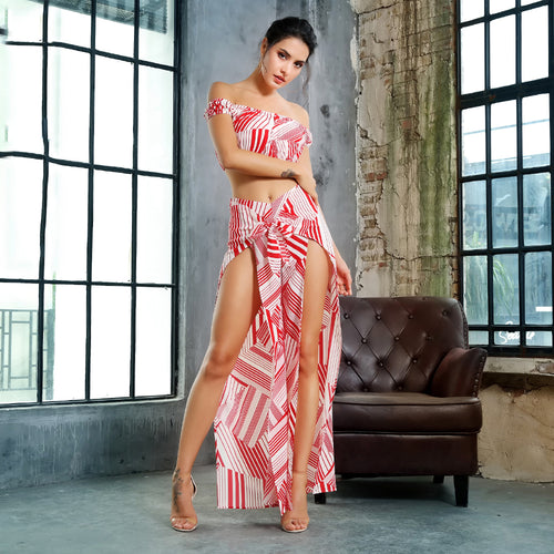 Red and White Geo Pattern 2 Piece Set