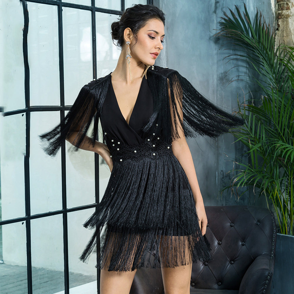 Black Tassel Beaded Dress