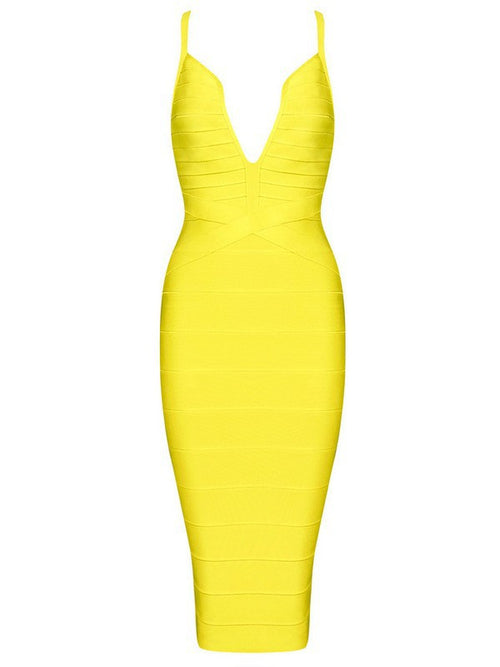 'Nova' Yellow Bandage Dress