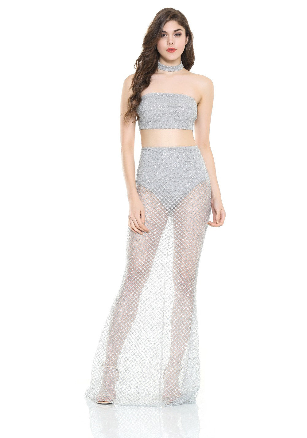 'Ariel' Silver Sequin 2 Piece Set