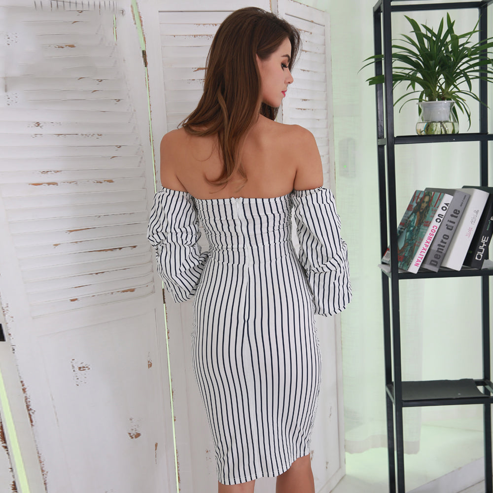 Black and White Off the Shoulder Dress