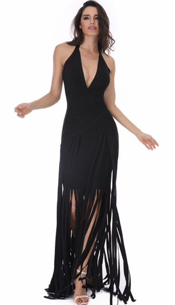 Black Fringe Maxi Dress