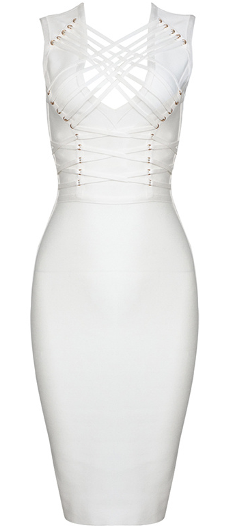 'Halina' White Bandage Dress