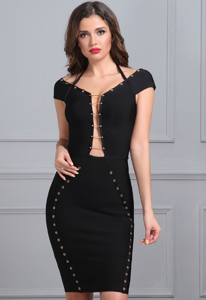 'Bexley' Black Bandage Dress