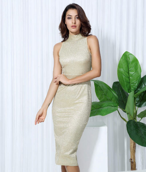 'Ardelle' Gold Midi Dress
