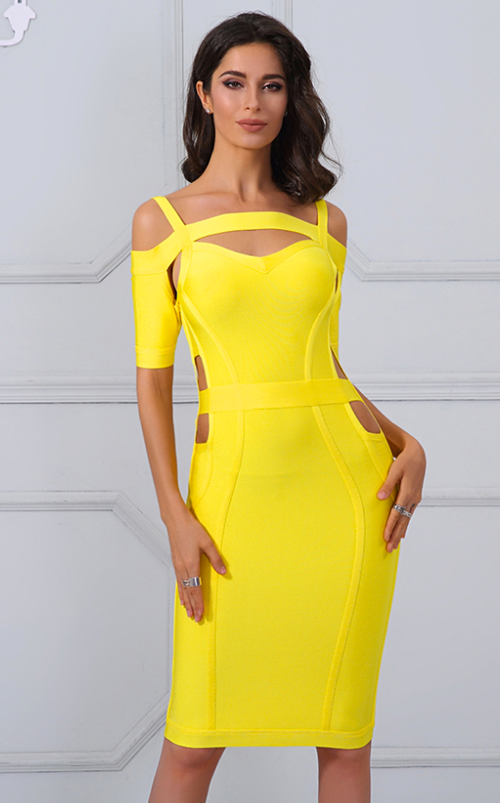 'Raelynn' Yellow Bandage Dress