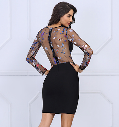 Black Mesh Floral Bandage Dress