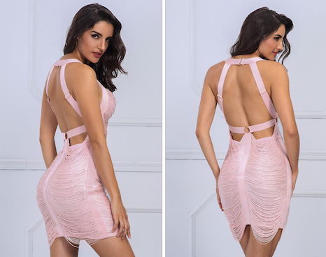 'Aubria' Pink Bandage Dress