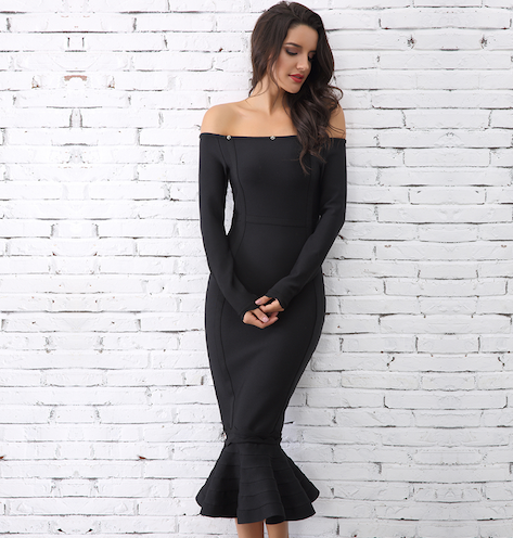 Black Fur Off the Shoulder Bandage Dress