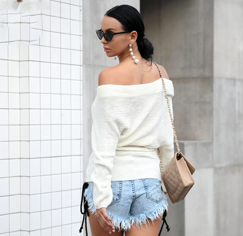 White Off the Shoulder Shoulder Top