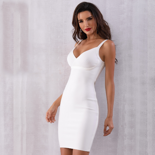 White V Neckline Bodycon Dress