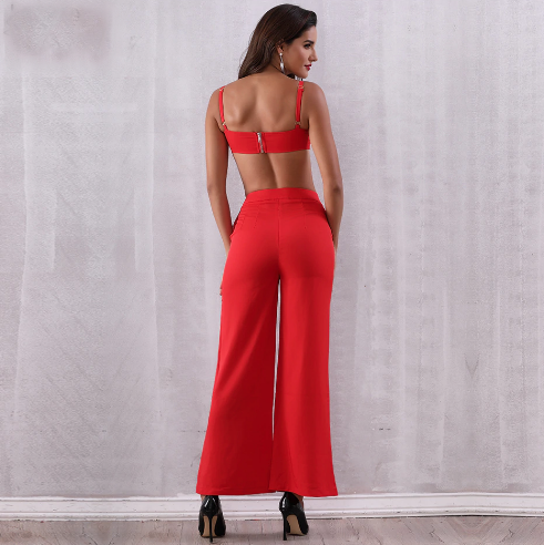 Red 2 Piece Jumpsuit