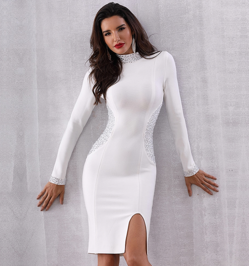 White Rhinestone Bandage Dress