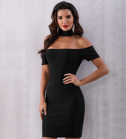 Black Floating Collar Bandage Dress