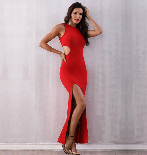 Red Maxi Bandage Dress