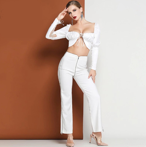 White Crop 2 Piece Set