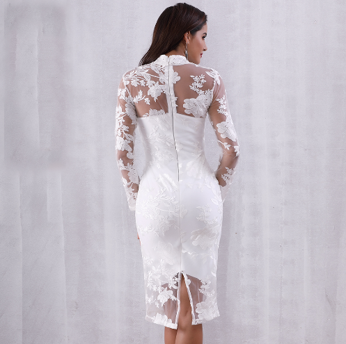 White Mesh Floral Bandage Dress