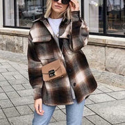 2019 long sleeve woolen coat thick plaid streetwear oversized chic jacket