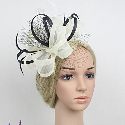 handmade mesh ribbon ribbon bridal tiara fashion England feather hair accessories