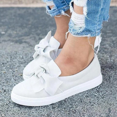 Women's Shoes White Sneakers Woman Butterfly-knot Women's Slip-ons 2020 New Arrival Soft Casual Woman Tennis