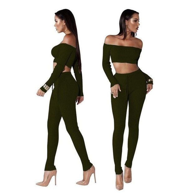 Women Knitted Lounge Wear Sets 2pcs Crop Top  Suit Ladies