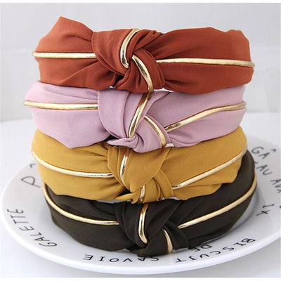 Fashion Gold Wide Knot Hair Band