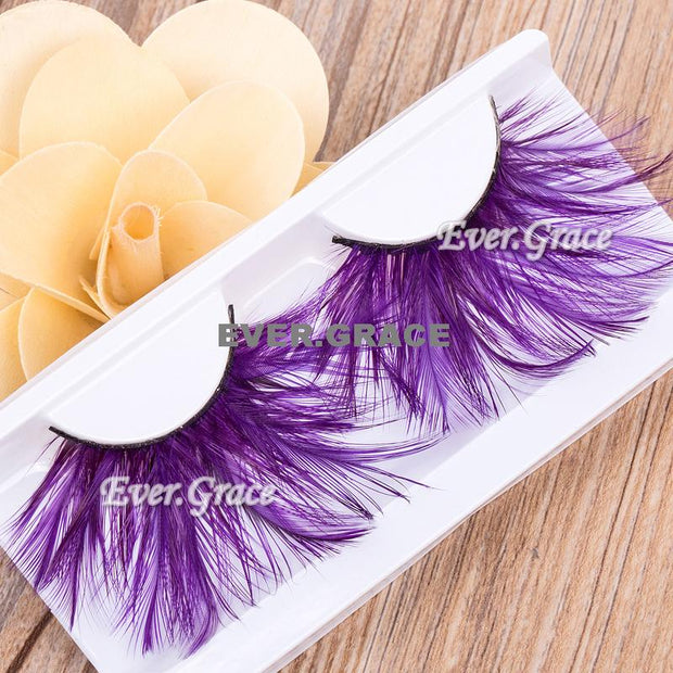 ICYCHEER Makeup Purple Faux Feather Eye Lashes Soft Eyelash Party Halloween Long Cosmetic