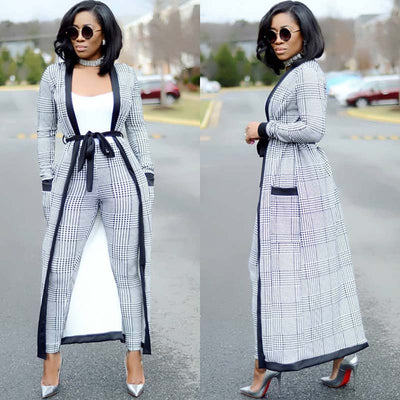 Classy Business Attire 2019 3 Piece Set Women Crop Top, Pencil Pants, and Jacket Long Sleeves Casual Wear