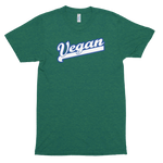 Sporty Vegan (White/Blue)<br/> Unisex Tri-Blend Tee