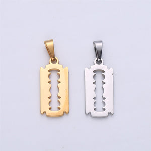 18K Gold Filled Razor Blade Pendant