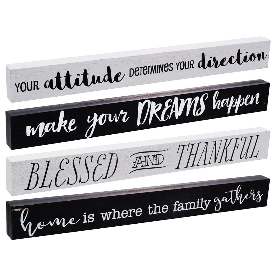Tabletop Plaques With Inspiring Quotes - 18x2x1""