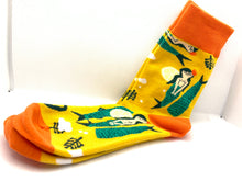 Load image into Gallery viewer, Mermaid fun socks! Yellow and Orange