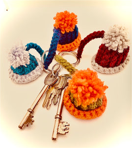 Handmade Crochet bobble hat Keyring one to match every smoc