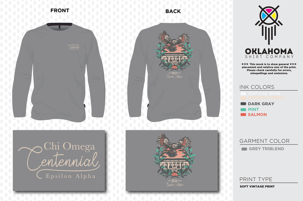 Chi Omega Centennial- Long Sleeve Tee- Grey Triblend