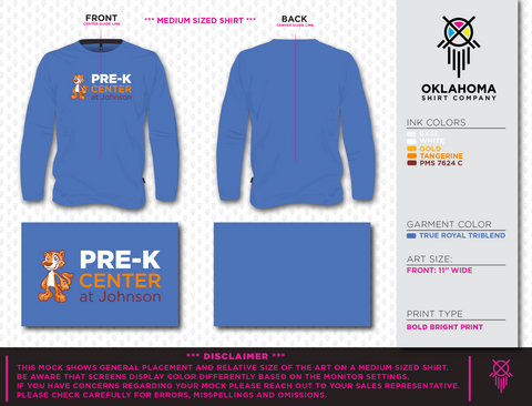 Long Sleeve Tee - Pre-K Center at Johnson