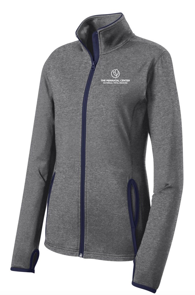 Perinatal Center Ladies Full Zip - Grey/Navy