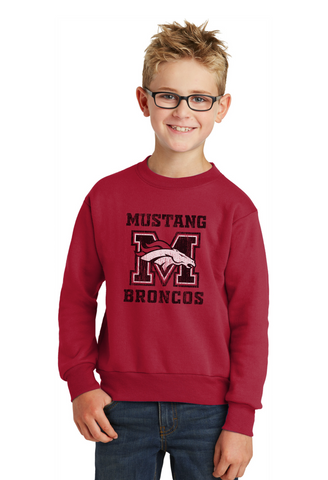 Mustang Broncos - Youth Sweatshirt - Red