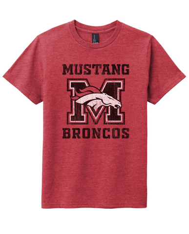 Mustang Broncos - Adult Tee - Red