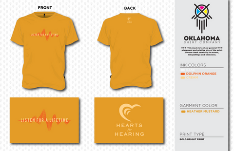 Hearts for Hearing Heather Mustard Short Sleeve