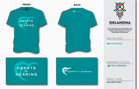 Hearts for Hearing Teal Triblend Short Sleeve