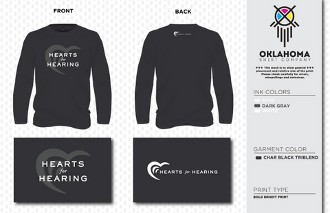 Hearts for Hearing Long Sleeve in Charcoal Black Triblend