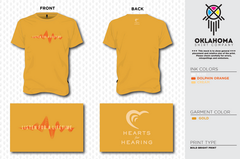 Hearts for Hearing Gold Youth Short Sleeve