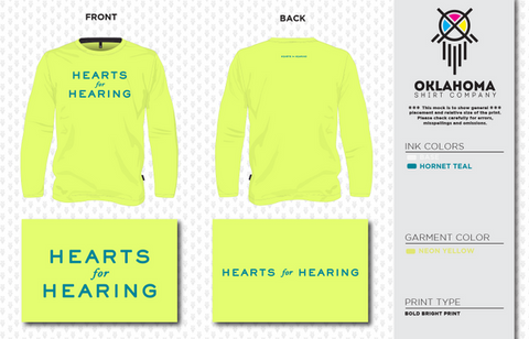 Hearts for Hearing Neon Yellow Performance Long Sleeve