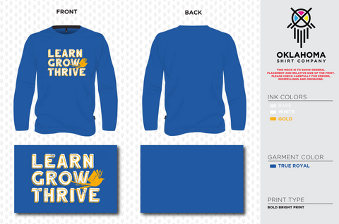 Learn, Grow, Thrive - Long Sleeve True Royal Triblend