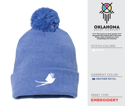 Embroidered Beanie with Pom-Pom - Heather Royal